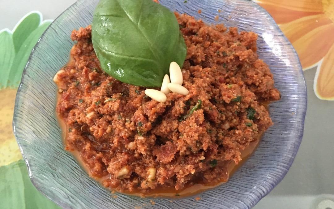 Pesto pomodori secchi, okara di mandorle, basilico e pinoli col CuCo Moulinex